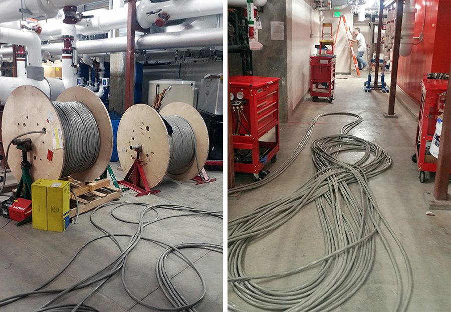 Telephone cable is wrapped on large 2,000 lb. spools, and formed into figure 8s for easy deployment. [Photo: Tim Goodale]