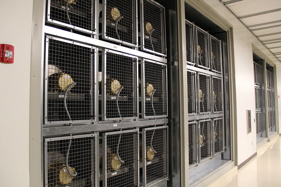 Wall of cooling fans, facing the DDC production area.