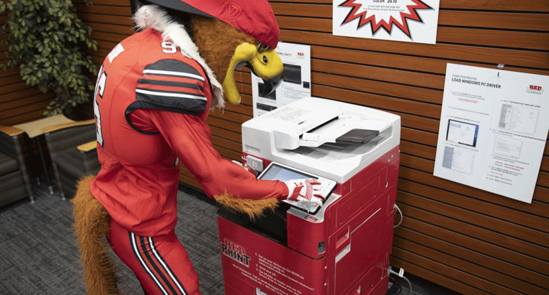(Photo courtesy of Managed Print Services) Swoop uses a RedPrint machine.