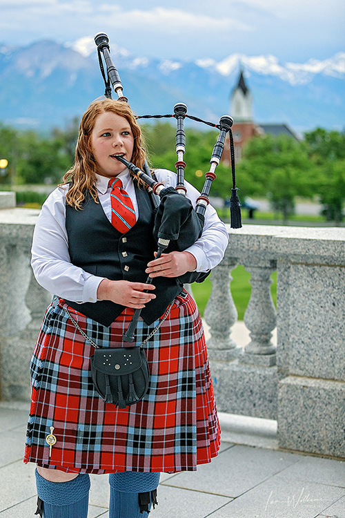 Hibbard performs at the Utah State Capitol with the Wasatch & District Pipe Band