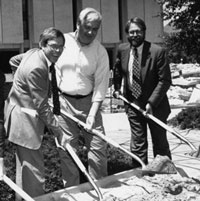Glen Cameron, second from right, and other university leaders break ground in 1994 on the Marriott Library expansion.