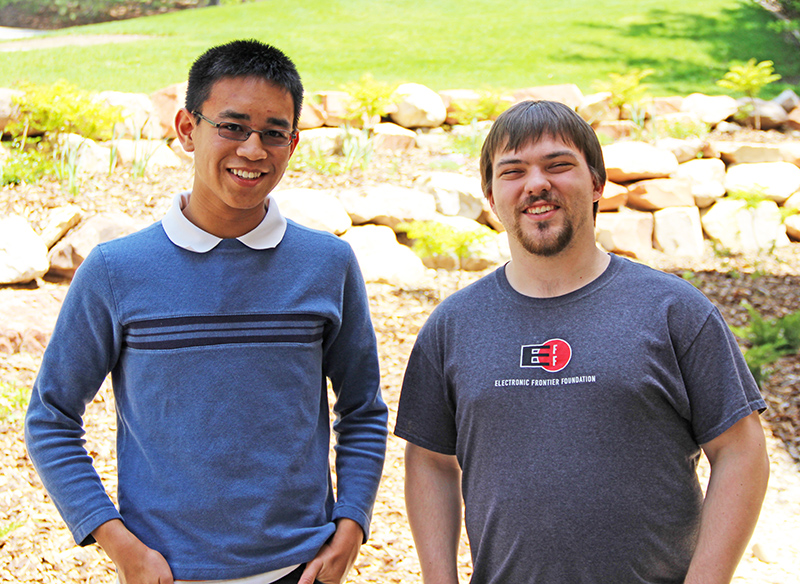 John Fresco, left, and Mitch West are the founders of the University of Utah Linux User Group. They are also student workers in University Information Technology.
